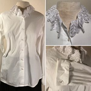 [Koret] Vintage button down w lace collar sz L